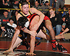 Nick Munsch of Commack, top, battles Andrew Fiore of Connetquot at 145 pounds during the final round of the 2016 Ted Petersen Tournament at Island Trees High School on Saturday, Jan. 2, 2016. Munsch won the match by injury default.
