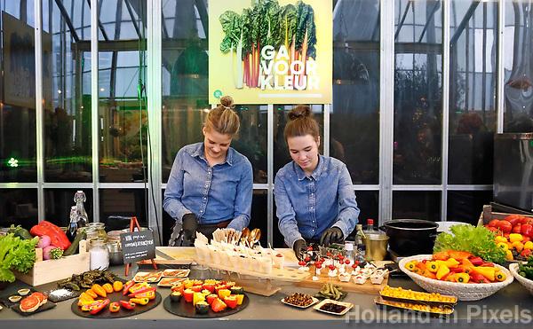 Nederland - Amsterdam - Januari 2019.  HORECAVA beurs in de RAI. Gerechten met kalettes. NON pop-up catering.   Foto Berlinda van Dam / Hollandse Hoogte