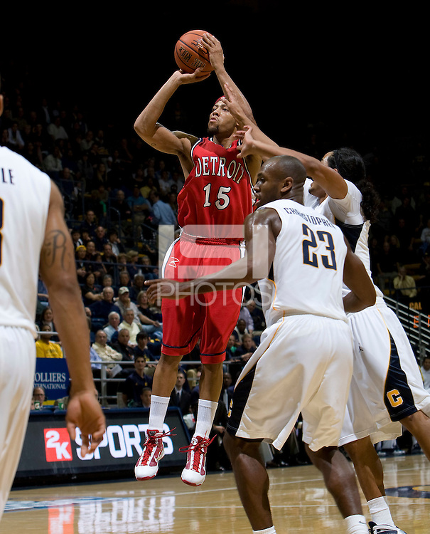 11 November 2009:  Thomas Kennedy of Detroit shoots the ball during the game against California at Haas Pavilion in Berkeley, California.   California defeated Detroit, 95-61.