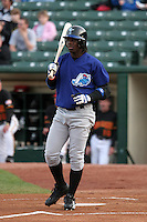 Norfolk Tides Lastings Milledge during an International League game at Frontier Field on April 20, 2006 in Rochester, New York.  (Mike Janes/Four Seam Images)