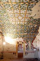 Affreschi sul soffitto a volta della Sala del Pergolato nel Castello di Torrechiara.<br /> The frescoed vaulted ceiling of the Sala del Pergolato (Pergola's Room) in the Castle of Torrechiara.<br /> UPDATE IMAGES PRESS/Riccardo De Luca