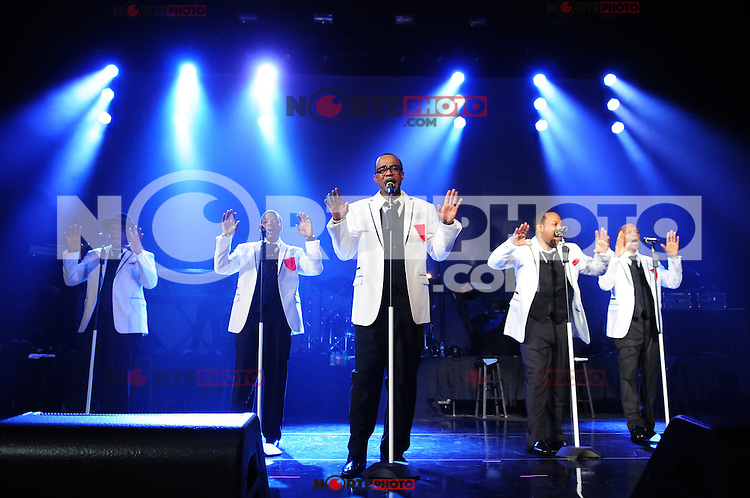 MIAMI, FL - MAY 05: Bobby Brown, Ricky Bell, Ralph Tresvant, Michael Bivins and Ronnie DeVoe of New Edition perform at the Bank United Center in support of their tour 'Road To the 30th' on May 5, 2012 in Miami, Florida.  (photo by: MPI10/MediaPunch Inc.)