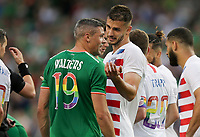 Dublin, Ireland - Saturday June 02, 2018: Jonathan Walters, Matt Miazga during an international friendly match between the men's national teams of the United States (USA) and Republic of Ireland (IRE) at Aviva Stadium.