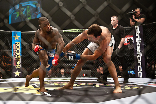 24.06.2011, Washinton, USA.   Jason High lands a left hook against Quinn Mulhern during the STRIKEFORCE Challengers at the ShoWare Center in Kent, Washington. High won the fight in a unanimous decision.