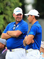 Thomas Bjorn (Captain Team Europe) and Rafa Cabrera Bello (Europe) on the 16th green during the Singles Matches of the Eurasia Cup at Glenmarie Golf and Country Club on the Sunday 14th January 2018.<br /> Picture:  Thos Caffrey / www.golffile.ie