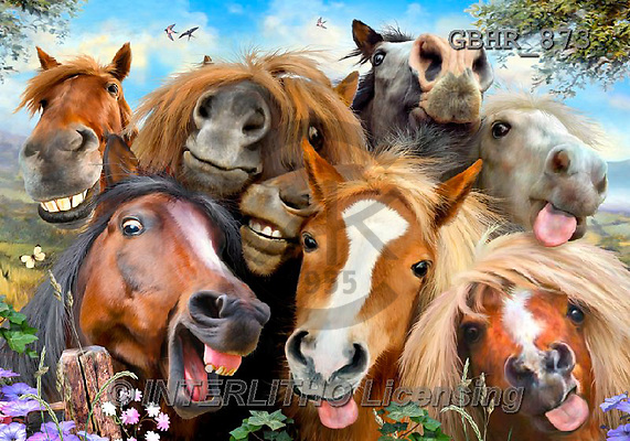 Howard, REALISTIC ANIMALS, REALISTISCHE TIERE, ANIMALES REALISTICOS,horses, paintings+++++,GBHR873,#A# ,puzzles