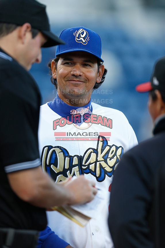 Rancho Cucamonga Quakes Manager Carlos Subero #3 before a game against the Modesto Nuts at The Epicenter on April 9, 2013 in Rancho Cucamonga, California. Rancho Cucamonga defeated Modesto, 1-0. (Larry Goren/Four Seam Images)
