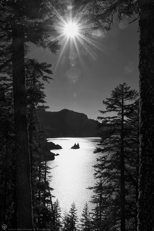 A peek through the pines at the rock formation called Phantom Ship in Crater Lake.