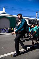 Te Kura Kaupapa Maori o Nga Mokopuna pupils, including Te Awe Huriwaka (pictured), perform a haka. NZ marks one week since Christchurch terror attacks. Wellington Islamic Centre in Wellington, New Zealand on Friday, 22 March 2019. Photo: Dave Lintott / lintottphoto.co.nz
