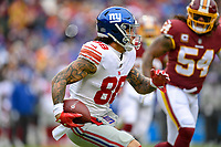 Landover, MD - December 9, 2018: New York Giants tight end Evan Engram (88) runs the football after a reception during game between the New York Giants and Washington Redskins at FedEx Field in Landover, MD. The Giants defeated the Redskins 40-16 dropping the Redskins to 6-7 on the season. (Photo by Phillip Peters/Media Images International)