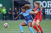Portland, OR - Saturday June 17, 2017: Kayla Mills, Mallory Weber during a regular season National Women's Soccer League (NWSL) match between the Portland Thorns FC and Sky Blue FC at Providence Park.