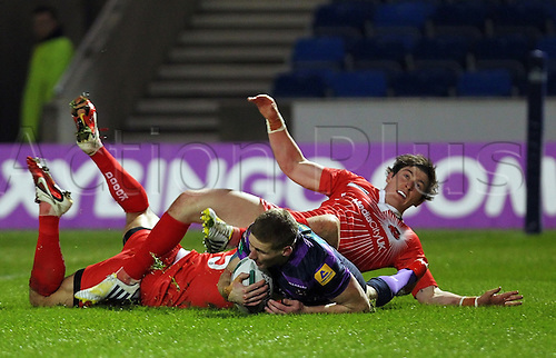 01.02.2013 Manchester, England. Sam Tomkins of Wigan Warriors scores the first try of the Super League season during the Rugby Super League game between Salford City Reds and Wigan Warriors from the Salford City Stadium...