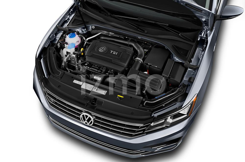 Car stock 2017 Volkswagen Passat R-Line 4 Door Sedan engine high angle detail view