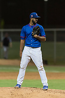 AZL Cubs 2 starting pitcher Emilio Ferrebus (43) looks in for the sign during an Arizona League game against the AZL Indians 2 at Sloan Park on August 2, 2018 in Mesa, Arizona. The AZL Indians 2 defeated the AZL Cubs 2 by a score of 9-8. (Zachary Lucy/Four Seam Images)