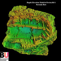 BNPS.co.uk (01202 558833)<br /> Pic: BU/BNPS<br /> <br /> Computor generated depth elavation of Invincible on the sea bed..<br /> <br /> Fascinating artefacts salvaged from a historic gun ship which sunk off the British coast 261 years ago have gone on display for the first time.<br /> <br /> The French built ship is credited with transforming the Georgian Royal Navy after its capture in 1747 when trials revealed it was sleeker and better armed than British warships of the day.<br /> <br /> Unfortunately HMS Invincible  became wrecked on a shallow sand bank in the Solent in 1758 when en route to fhelp fight the French in Canada.<br /> <br /> The wreck, which is three nautical miles from Portsmouth, Hants, was first discovered by a fisherman in shallow 25ft waters 40 years ago. However, changing sea bed levels in the past few years have left it more exposed to the elements, leading to fears the relics could deteriorate.<br /> <br /> This prompted archaeologists to carry out a full scale excavation, with 1,458 dives taking place between 2017 and 2019 - during which nearly 2,000 artefacts were recovered.<br /> <br /> The array of new finds, including the ship's enormous cutwater - the forward curve of the ship's stem - have now been unveiled at the MAST Archaeological Centre in Poole, Dorset. They will eventually go on display at the National Museum of the Royal Navy in Portsmouth.<br /> <br /> Mr Pascoe said the HMS Invincible's innovative longer, streamlined design was copied by the British who adopted it on their ships up until the Battle of Trafalgar (1805).