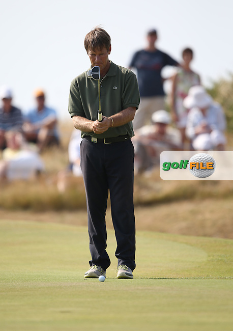 Pedro Linhart (ESP) dropped shots on the back nine to fall behind during Round Three of the 2014 Senior Open Championship presented by Rolex from Royal Porthcawl Golf Club, Porthcawl, Wales. Picture:  David Lloyd / www.golffile.ie