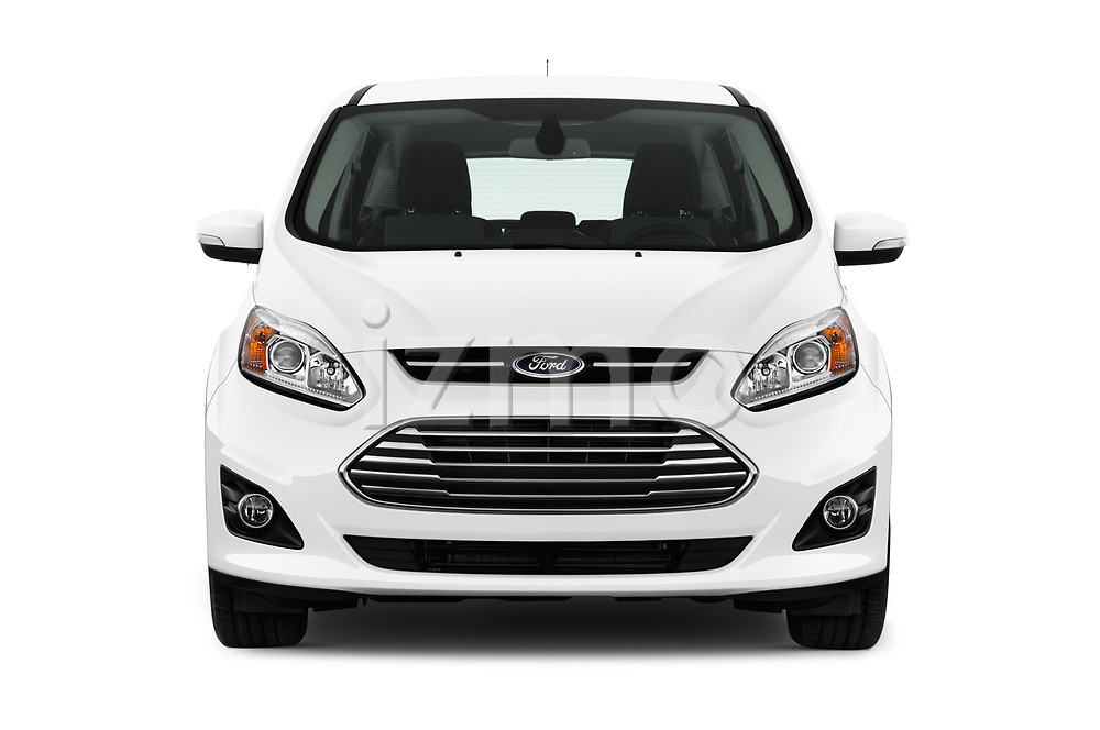 Car photography straight front view of a 2017 Ford C-Max Energi-Titanium 5 Door Mini MPV Front View