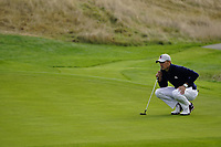 Jordan Spieth (Team USA) on the on the 8th during the friday fourballs at the Ryder Cup, Le Golf National, Iles-de-France, France. 27/09/2018.<br /> Picture Fran Caffrey / Golffile.ie<br /> <br /> All photo usage must carry mandatory copyright credit (© Golffile | Fran Caffrey)