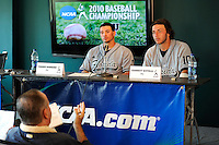 5 June 2010:  FIU's Garrett Wittels (10, right) and Yoandy Barroso (38, left) speak with media after the game, in which the Dartmouth Green Wave defeated the FIU Golden Panthers, 15-9, in Game 3 of the 2010 NCAA Coral Gables Regional at Alex Rodriguez Park in Coral Gables, Florida.  With his first-inning double, Wittels extended his hitting streak to 56 games, moving within two games of Oklahoma State's Robin Ventura, who holds the NCAA Division I record with a 58-game hitting streak in 1987.