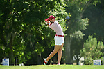 HOUSTON, TX - MAY 19: Annika Haynes of the University of Indianapolis tees off during the Division II Women's Golf Championship held at Bay Oaks Country Club on May 19, 2018 in Houston, Texas. (Photo by Justin Tafoya/NCAA Photos via Getty Images)