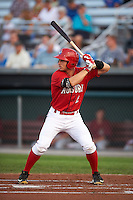 Auburn Doubledays outfielder Rhett Wiseman (2) at bat during a game against the Mahoning Valley Scrappers on September 4, 2015 at Falcon Park in Auburn, New York.  Auburn defeated Mahoning Valley 5-1.  (Mike Janes/Four Seam Images)