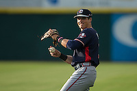 Bradley Keller (18) of the Rome Braves warms up in the outfield prior to the game against the Hickory Crawdads at L.P. Frans Stadium on May 12, 2016 in Hickory, North Carolina.  The Braves defeated the Crawdads 3-0.  (Brian Westerholt/Four Seam Images)