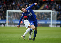 Leicester City's Ben Chilwell trips over Manchester United's Paul Pogba<br /> <br /> Photographer Hannah Fountain/CameraSport<br /> <br /> The Premier League - Leicester City v Manchester United - Sunday 3rd February 2019 - King Power Stadium - Leicester<br /> <br /> World Copyright © 2019 CameraSport. All rights reserved. 43 Linden Ave. Countesthorpe. Leicester. England. LE8 5PG - Tel: +44 (0) 116 277 4147 - admin@camerasport.com - www.camerasport.com