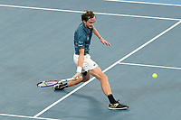 11th January 2020; Sydney Olympic Park Tennis Centre, Sydney, New South Wales, Australia; ATP Cup Australia, Sydney, Day 9; Serbia versus Russia;  Novak Djokovic versus Daniil Medvedev; Daniil Medvedev of Russia slides in for midcourt forehand return against Novak Djokovic of Serbia - Editorial Use