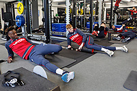 (L-R) Tammy Abraham amd Sam Clucas exercise in the gym during the Swansea City Training at The Fairwood Training Ground, near Swansea, Wales, UK. Wednesday, 11 April 2018
