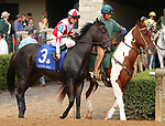 "October 07, 2018 : #3 Blame the Frog and jockey Brian Hernandez Jr. in the 1st running of The Indian Summer $200,000 ""Win and You're In Breeders' CupJuvenile Turf Sprint Division"" for trainer Mark Casse and owner John Oxley  at Keeneland Race Course on October 07, 2018 in Lexington, KY.  Candice Chavez/ESW/CSM"