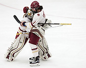 Katie Burt (BC - 33), Serena Sommerfield (BC - 3) -  The Boston College Eagles defeated the University of Vermont Catamounts 4-3 in double overtime in their Hockey East semi-final on Saturday, March 4, 2017, at Walter Brown Arena in Boston, Massachusetts.