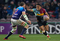 Harlequins' Francis Saili evades the tackle of Benetton's Sebastian Negri<br /> <br /> Photographer Bob Bradford/CameraSport<br /> <br /> European Rugby Challenge Cup Pool 5 - Harlequins v Benetton Treviso - Saturday 15th December 2018 - Twickenham Stoop - London<br /> <br /> World Copyright © 2018 CameraSport. All rights reserved. 43 Linden Ave. Countesthorpe. Leicester. England. LE8 5PG - Tel: +44 (0) 116 277 4147 - admin@camerasport.com - www.camerasport.com