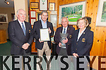 Waterville Golf Links received high honors at the 1st Annual World Golf Awards scooping the title of 'Ireland's Best Golf Course' pictured here l-r; Ted Foley(Captain WGC), Michael Murphy(Course Superintendent Waterville Golf Links), Noel Cronin Secretary Manager WGL & Marie Mullins(Lady Captain WGC).