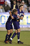 11 November 2005: Duke's Blake Camp (right) accepts the congratulations of a teammate following his first goal of the game, in the 13th minute, which gave Duke a 1-0 lead. Duke University defeated the University of Maryland 4-2 at SAS Stadium in Cary, North Carolina in a semifinal of the 2005 ACC Men's Soccer Championship.
