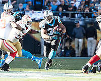 The Carolina Panthers played the San Francisco 49ers at Bank of America Stadium in Charlotte, NC in the NFC divisional playoffs on January 12, 2014.  The 49ers won 23-10.  Carolina Panthers fullback Mike Tolbert (35)