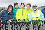BICYCLE TIME: Enjoying a great time at the Kingdom Care Charity Shop Cycle at Tralee Mart on Saturday l-r: Emiela Lowe, Claire Godley, Margaret Kenny, Mary Costello and Kitty Higgins from Ardfert, Kilmoyley and Ballyheigue.