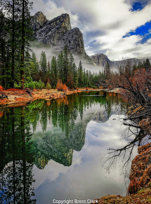 Reflection of the Three Brothers in Yosemite National Park, California