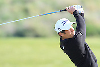 Adrien Saddier (FRA) on the 10th tee during Round 1 of the Challenge de Madrid, a Challenge  Tour event in El Encin Golf Club, Madrid on Wednesday 22nd April 2015.<br /> Picture:  Thos Caffrey / www.golffile.ie