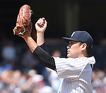 Masahiro Tanaka (Yankees),<br /> AUGUST 9, 2015 - MLB :<br /> Pitcher Masahiro Tanaka of the New York Yankees reacts after giving up a home run in the fourth inning during the Major League Baseball game against the Toronto Blue Jays at Yankee Stadium in the Bronx, New York, United States. (Photo by AFLO)