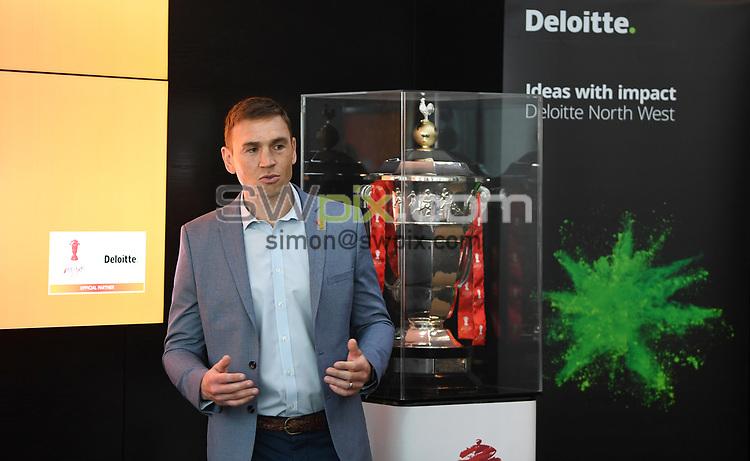 Picture by Simon Wilkinson/SWpix.com - 30/04/2019 - Rugby League RLWC2021 - Deloitte Partnership Deloitte Offices Manchester - Jon Dutton Kevin Sinfield