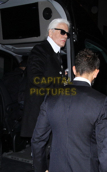 October 13, 2014: Karl Lagerfeld at the screening of No5 at Dia Art Foundation Chelsea in New York.  <br /> CAP/MPI/RW<br /> &copy;RW/ MediaPunch/Capital Pictures