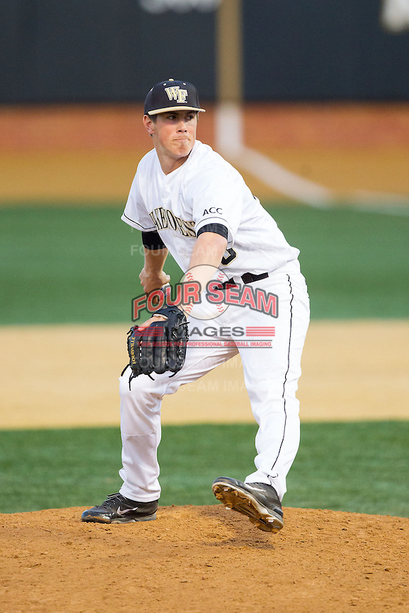 Wake Forest Demon Deacons relief pitcher Parker Dunshee (36) in action against the High Point Panthers at Wake Forest Baseball Park on April 2, 2014 in Winston-Salem, North Carolina.  The Demon Deacons defeated the Panthers 10-6.  (Brian Westerholt/Four Seam Images)