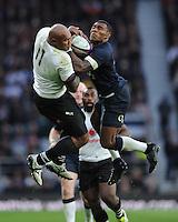 Semesa Rokoduguni of England wins the high ball battle against Nemani Nadolo of Fiji during the Old Mutual Wealth Series match between England and Fiji at Twickenham Stadium on Saturday 19th November 2016 (Photo by Rob Munro)