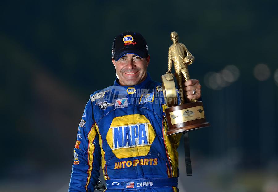 Jun. 17, 2012; Bristol, TN, USA: NHRA funny car driver Ron Capps poses for a portrait after winning the Thunder Valley Nationals at Bristol Dragway. Mandatory Credit: Mark J. Rebilas-