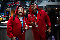 NEW YORK, USA - October 3: Money Heist cosplayers pose during day one of New York Comic Con at the Jacob K. Javits Convention Center on Oct. 3, 2019 in New York.<br /> The 2019 New York Comic-Con at the Jacob K. Javits Convention Center Day 1 with the latest in superhero movies, sci-fi shows, animation, video games, comic book releases available to attendees.<br /> (Photo by Luis Boza/VIEWpress/Corbis via Getty Images)