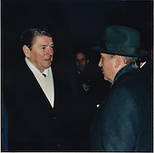 "United States President Ronald Reagan presented this photograph to President Mikhail Sergeyevich Gorbachev of the Soviet Union in New York on Wednesday, December 7, 1988.  The photograph was taken in Geneva, Switzerland on Tuesday, November 19, 1985, during the first summit.  The photograph was inscribed, ""We have walked a long way together to clear a path for peace,"" and was signed Ronald Reagan.  Underneath the signiture was a line that said, ""Geneva 1985 ---- New York 1988"".  President Reagan gave the photograph to President Gorbachev during their meeting..Mandatory Credit: Terry Arthur - White House via CNP"