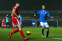 Walsall's Jon Guthrie (left) and Rochdale's Joe Thompson (right) in action during the Sky Bet League 1 match between Rochdale and Walsall at Spotland Stadium, Rochdale, England on 23 December 2017. Photo by Juel Miah / PRiME Media Images.