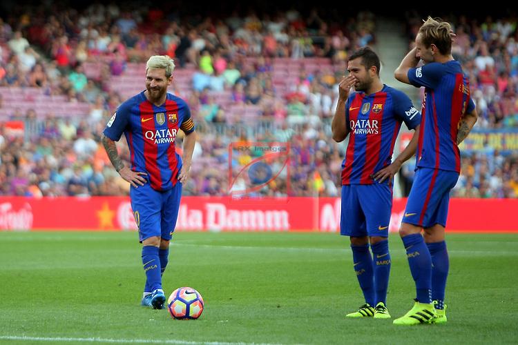 League Santander 2016/2017. Game: 1.<br /> FC Barcelona vs Real Betis: 6-2.<br /> Lionel Messi, Jordi Alba &amp; Ivan Rakitic.