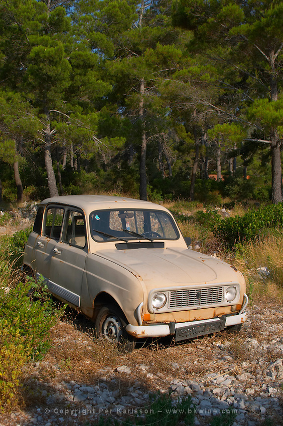 A very old Renault 4, light brownish grey, rusting or parked in a clearing in the forest. Prizba village. Korcula Island. Prizba, Riva Apartments, Danny Franulovic. Korcula Island. Dalmatian Coast, Croatia, Europe.