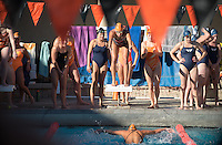 The Occidental College swim team competes against Lewis & Clark College and Westminster College in Taylor Pool on Jan. 6, 2015. (Photo by Marc Campos, Occidental College Photographer)